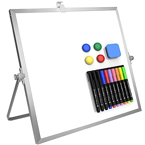 """Dry Erase White Board, 12"""" X 12"""" Large Magnetic Desktop Whiteboard with Stand, 10 Markers, 4 Magnets, 1 Eraser, Portable Double-Sided White Board Easel for Kids Drawing to Do List Wall Desk School"""
