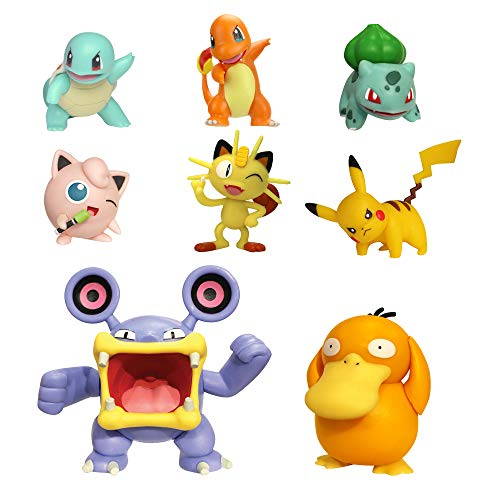 Pokemon Battle Action Figure Multi 8 Pack - Comes with 2' Bulbasaur, 2' Squirtle, 2' Charmander, 2' Pikachu, 2' Houndour, 2' Jigglypuff, 3' Haunter, & 3' Psyduck