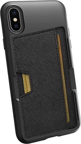 Smartish iPhone X/XS Wallet Case - Wallet Slayer Vol. 2 [Slim Protective Kickstand] Credit Card Holder for Apple iPhone 10s/10 (Silk) - Black Tie Affair