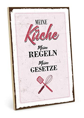 TypeStoff Holzschild mit Spruch – Meine KÜCHE, Meine Regeln, Meine GESETZE – Shabby chic Retro Vintage Nostalgie deko Typografie-Grafik-Bild bunt im Used-Look aus MDF-Holz (19,5 x 28,2 cm)