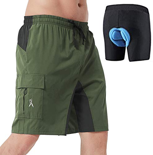 PRIESSEI Men's Mountain Bike Shorts Lightweight MTB Cycling Shorts Loose-Fit Padded (Green, Small)