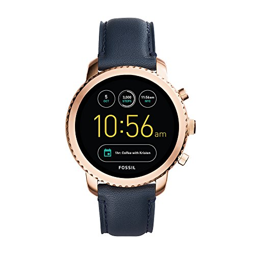Fossil Q Men's Gen 3 Explorist Stainless Steel and Leather Smartwatch, Color: Rose Gold-Tone, Blue (Model: FTW4002) Arizona