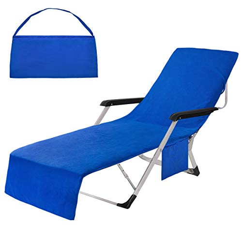 Pknoclan Blue Chaise Lounge Chair Cover with Side Pockets, Microfiber Beach Chair Cover Outdoor, Soft Beach Towel Cover for Pool Sun Lounger Hotel Garden, Oversized, Lightweight, 85' L x 30' W