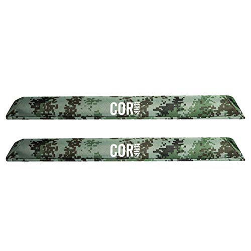 """Aero Car Roof Rack Pads for Surfboard Kayak SUP Snowboard [Pair] 28"""" & 19"""" - for Large Aero Bars (28 Inch Camo Small)"""
