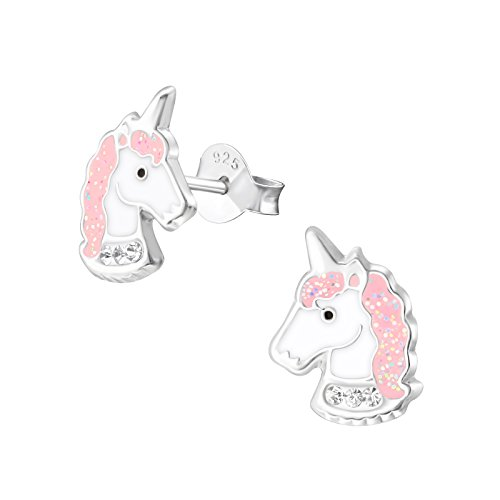 Laimons Orecchini per bambina, a forma di unicorno, rosa con glitter, in argento Sterling 925