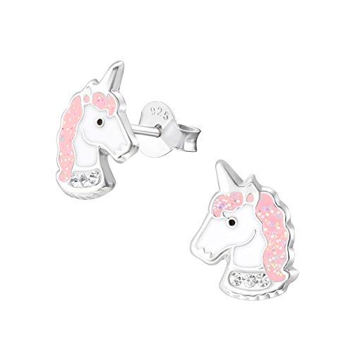 Laimons - Pendientes para niña, joyas para niñas en diseño de unicornio, 11 x 8 mm, rosa con purpurina, plata de ley 925