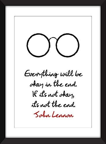 John Lennon Everything Will Be Okay Zitat Ungerahmter Druck