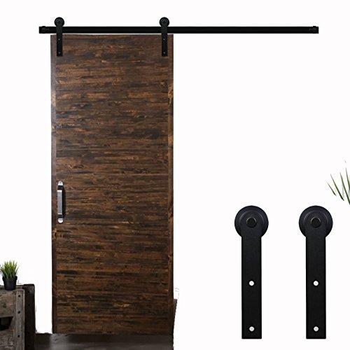 9FT/274cm Herraje para Puerta Corredera Kit de Accesorios para Puertas Correderas,Negro I-Forma
