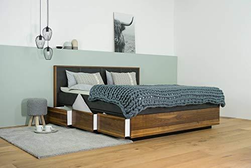 SuMa Wasserbett mit Schubkästen in Boxspringoptik + Topper + Wandpaneel Quaddro + Laken (200 x 200 cm, Ohne Beruhigung)