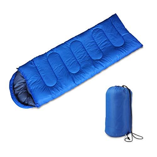 Saco de dormir de camping 3 estaciones para clima cálido y fresco, ligero, resistente al agua para adultos y niños, perfecto para camping, senderismo, viajes en interiores y exteriores