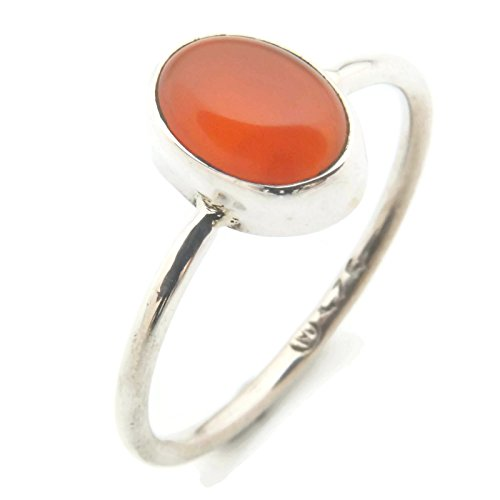 Ring Silber 925 Sterlingsilber Karneol orange rot Stein (Nr: MRI 100), Ringgröße:56 mm/Ø 17.8 mm