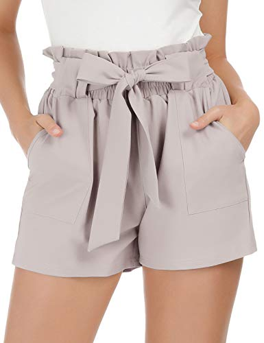 Women Lavender Blush Dressy Shorts with Paper Bag Summer Pocketed Teen Shorts