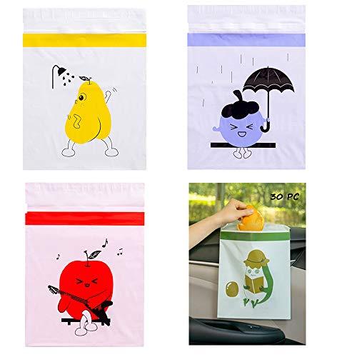 selbstklebende Einweg Müllbeutel für Auto, Büro, Küche, Badezimmer,gemischte Farben (30 Stück)