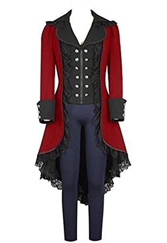Tollstore Damen Steampunk Gothic Mantel mit Spitze Barock Jacke Damen Frack viktorianisch Rot XXL