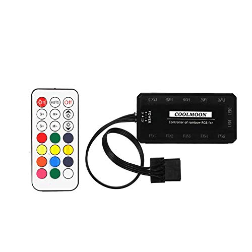 PerGrate - Ventola per PC RGB, 12 V, 6 pin, 12 cm, con controller per Computer Silent Gaming Case, Remote Control With Panel