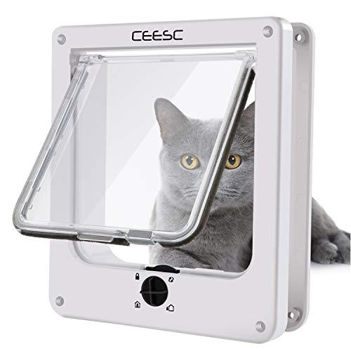 CEESC Katzenklappe, magnetische Haustiertür mit 4-Wege-Drehverschluss für kleine Hunde und Katzen, Aktualisierte Version(M,weiß)