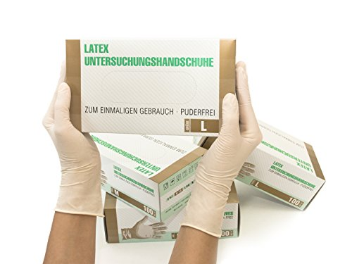Latexhandschuhe 100 Stück Box (L, Weiß) Einweghandschuhe, Einmalhandschuhe, Untersuchungshandschuhe, Latex Handschuhe, puderfrei, unsteril, disposible gloves