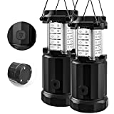 Etekcity CL30 2 Pack Camping Lantern LED Portable Flashlights with AA Batteries, Upgraded Magnetic Base and Dimmer Button-Collapsible Survival Lights for Emergency, Hurricane, Black