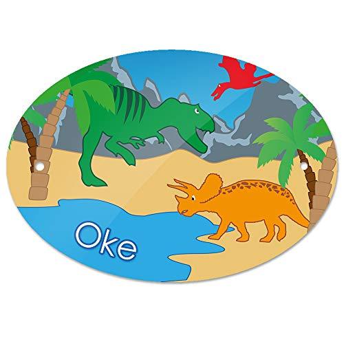 Eurofoto Türschild mit Namen Oke und Dino-Motiv   Kinderzimmer-Schild