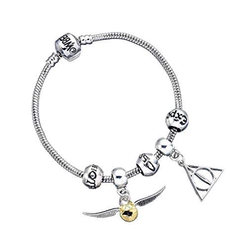 The Carat Shop Pulsera Charms Snitch, Reliquias de la Muerte y hechizos - Harry Potter, Silver, Único