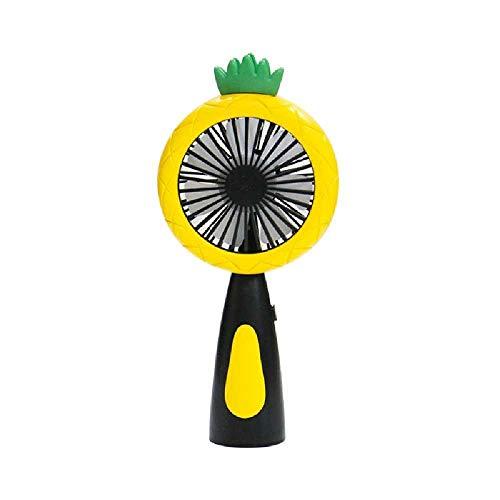 wangtao Mini Ventilador Recargable USB Portátil De Fruta De Piña De Dibujos Animados con Luz Nocturna LED Refrigerador De Aire Portátil De Escritorio De 2 Velocidades Amarillo
