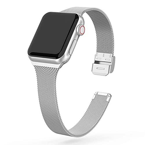 Correa de metal delgada para Apple Watch 6 / SE / 5/4/3/2/1 38mm 40mm Correa de reloj de acero inoxidable para iwatch series SE / 6 42MM 44MM Pulsera-Plata, Para 42MM o 44MM