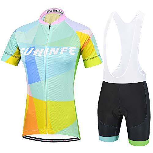 Traje Ciclismo Mujer Verano, Transpirable y elástico Maillot Ciclismo y Pantalon para MTB, Ropa Ciclismo para Bicicleta de Carretera, Azul Claro, M