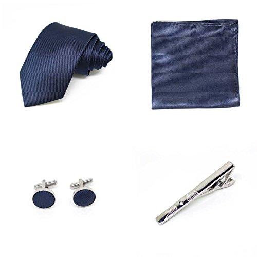 S.R HOME Coffret Cadeau Ensemble Cravate homme, Mouchoir de poche, épingle et boutons de manchette