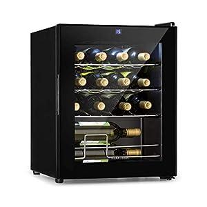 Klarstein Shiraz Vinoteca - Volumen: 42 litros, Temperatura: 5-18 °C, Espacio para 16 botellas de vino, Eficiencia energética clase A, Panel de control táctil, 3 baldas, Aislada, Negra