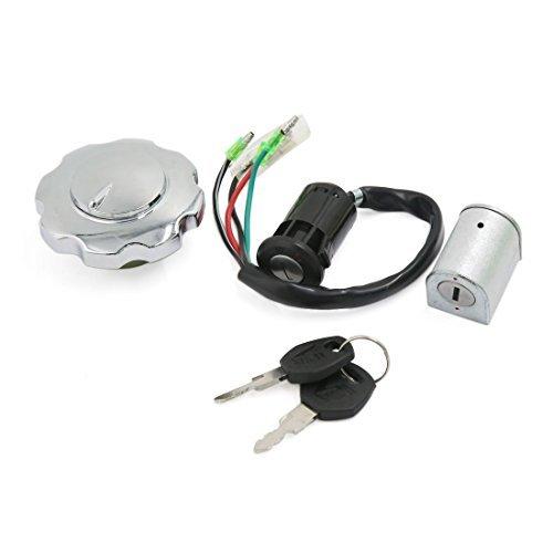 DealMux Interruptor de Encendido de la Moto Tanque de Combustible Tapa antirrobo de Bloqueo de Teclas Set para CG-125