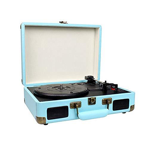 Queenser Estante portátil para fonógrafo vintage toca-discos com correia giratória com entrada auxiliar de 3 velocidades e saída RCA para fone de ouvido