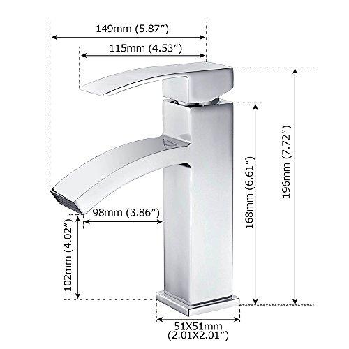 Homelody – Einhebel-Waschtischarmatur, ohne Ablaufgarnitur, Wasserfallarmatur, Chrom - 3