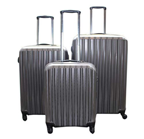 Bon Goût Lightweight 4 Wheel ABS Hard Shell Travel Trolley 3 Piece Luggage Suitcase Set or Individual Cabin Medium & Hold Check in Luggagge, Graphite Grey (Cabin & Large)