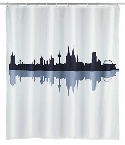WENKO 23185100 Duschvorhang Köln, waschbar, wasserabweisend mit 12 Duschvorhangringen, Polyester, 200 x 180 cm, Mehrfarbig