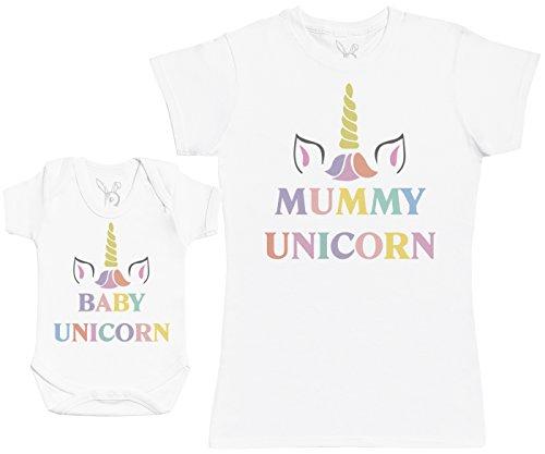 Baby Unicorn & Unicorn - Regalo para Madres y bebés en un Body para bebés y una Camiseta de Mujer...
