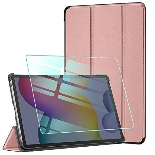 AROYI Funda y Protector de Pantalla Compatible con Samsung Galaxy Tab S7 Plus 12.4 2020, Funda Tríptica Smart Cover con Auto Sueño Estela, Carcasa Ligera con Soporte Función,Rosado