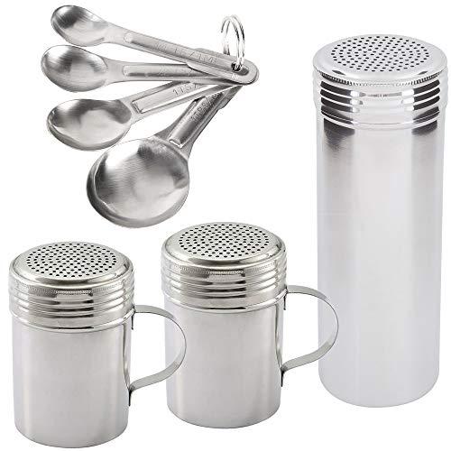 [10oz + 10oz + 22oz] Stainless Steel Dredge Shaker Set + Measuring Spoon -...