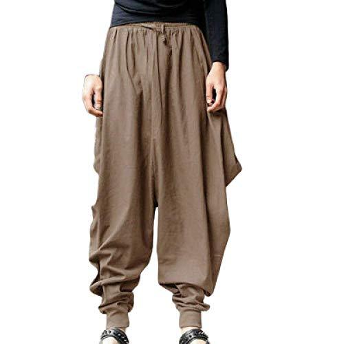 nobranded Pantalons pour Hommes Mode Harem Rétro Personnalité Conception Originale Lin lâche Couleur Unie Pantalon décontracté pour Courir Gym Training Fitness