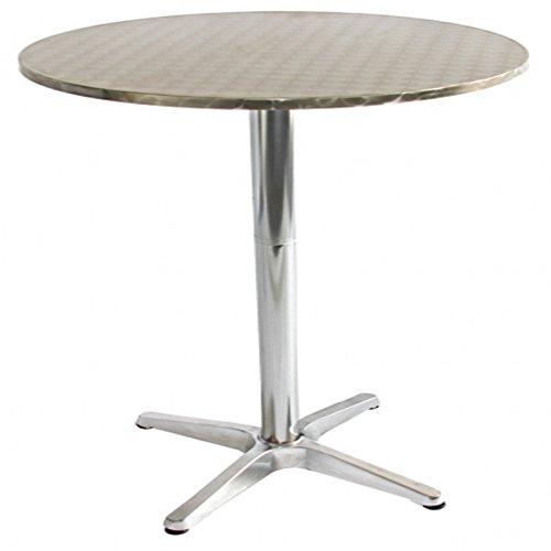 PEGANE Table de Jardin en Aluminium Ronde réglable, Dim : H 70-110 x D 60 cm, Coloris : chromé