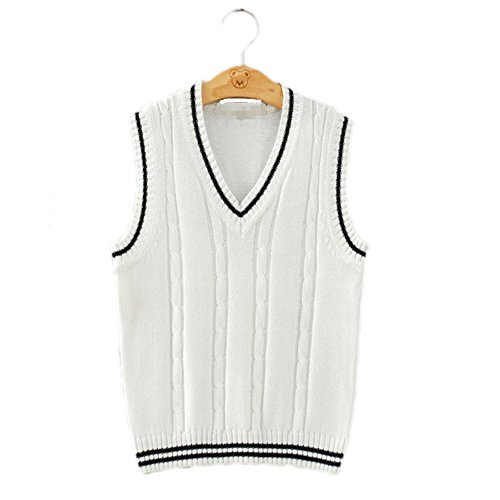 Men Women Knitted Cotton V-Neck Vest JK Uniform Pullover Sleeveless Sweater School Cardigan