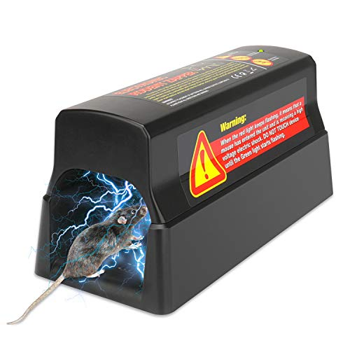 Anglink 2021 Electronic Rat Mouse Trap, 7000v Shock Electric Rodent Zapper, Dual Power Options, Effective & Powerful Humane Electric Pest Control Zapper Trap