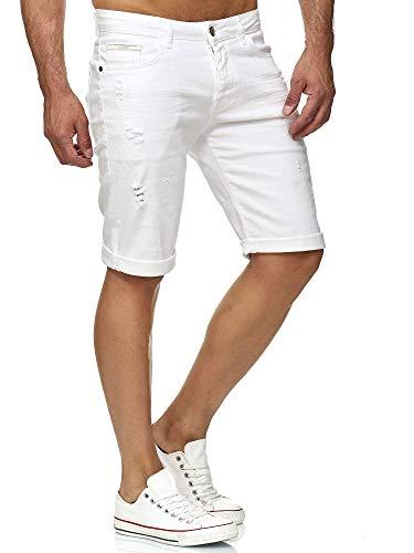Red Bridge Herren Jeans Shorts Kurze Hose Denim Bermuda Stretch Capri Basic Blau Grau oder Weiß (W34, White)