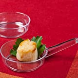 zappy 50 Disposable Heavyweight Plastic Mini Frying Pan Tasting Sample Bowl Small Mini Bowls with handles Dessert Cups Glasses Mini Sauce Dishes Cooking Pots or Candy Dish