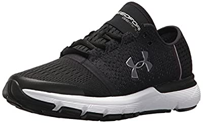 Under Armour Women's Speedform Gemini Vent Running Shoe, Black (002)/White, 8.5