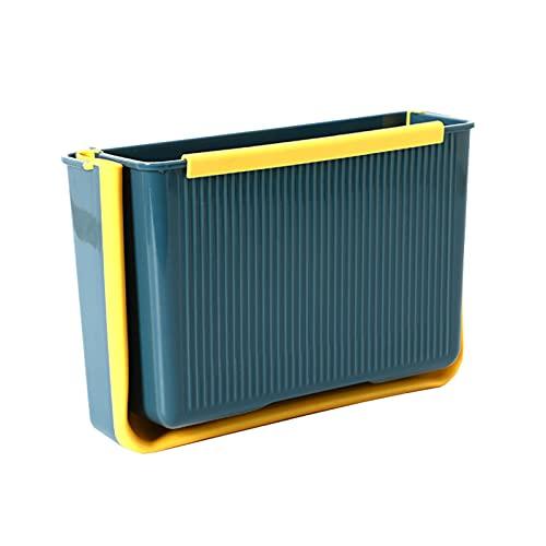 Pequeña papelera plegable plegable para puerta de gabinete de cocina, basura, cubo de basura para baño, dormitorio, coche, camping (azul)