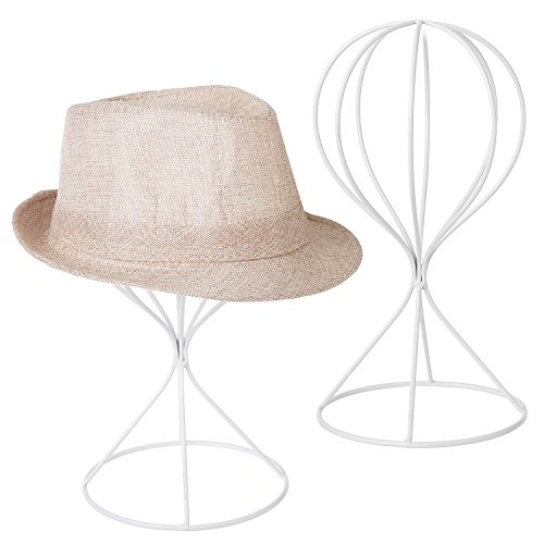 MyGift Modern Wire Design Metal Hat and Cap Rack Display Stands, Dresser Top Decorative Wig Holders, Set of 2, White