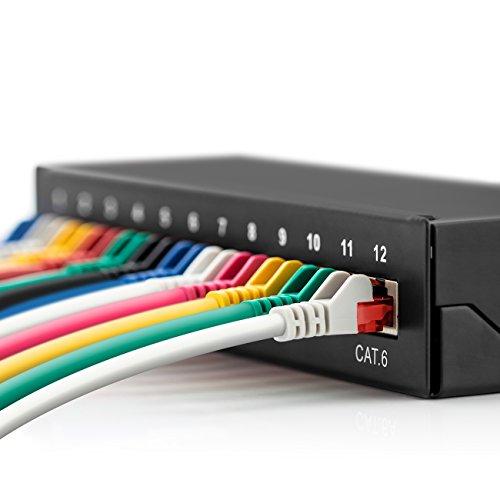 deleyCON CAT 6 Patchpanel Verteilerfeld 12 Port - Desktop & Wandmontage - Geschirmt - 12x RJ45 Buchse - TIA568A TIA568B Schwarz