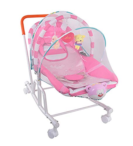 Sharesun 3-in-1 Rocker Napper, Newborn Baby Bouncer met parasol Recline Shade, universele fiets, muziek en vibraties, rustgevend, geschikt vanaf de geboorte, vanaf de geboorte