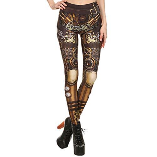 Zarupeng Damen Retro Leggings Steampunk-Stil Cosplay Enge Yogahosen Trainingshose Röhrenhose Schlanke Basic Hosen
