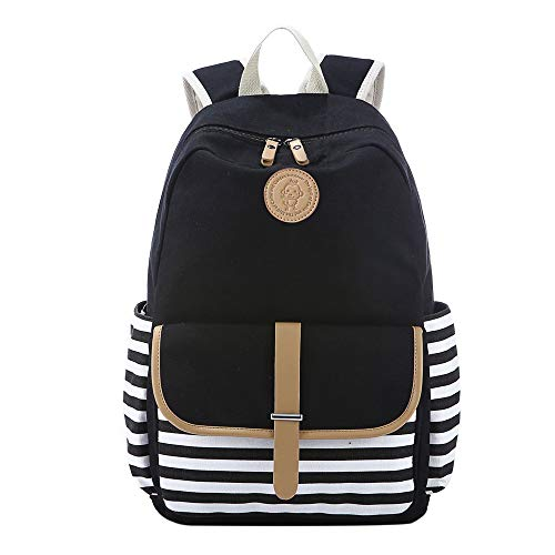 DannyFrench Breton Nautical Striped Backpack Marine Sailor Navy Stripy Bag for Teenager Girls and Boys Lightweight Cute Waterproof Casual Daypack Holds 14 Inch Laptop School Shoulder Rucksack Black